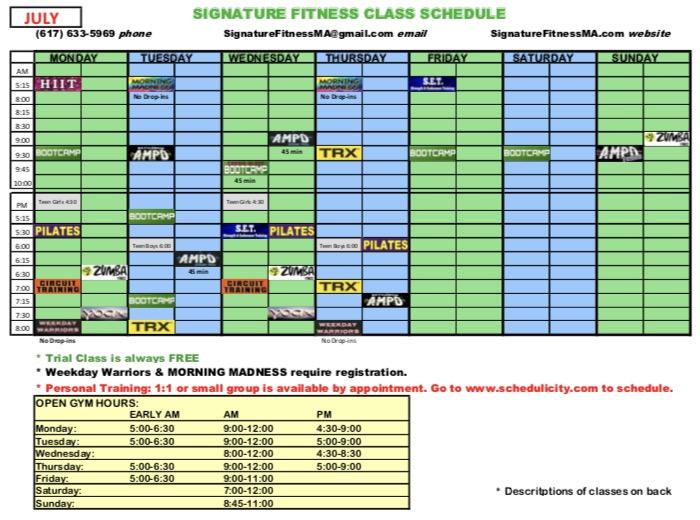 July Schedule 2017