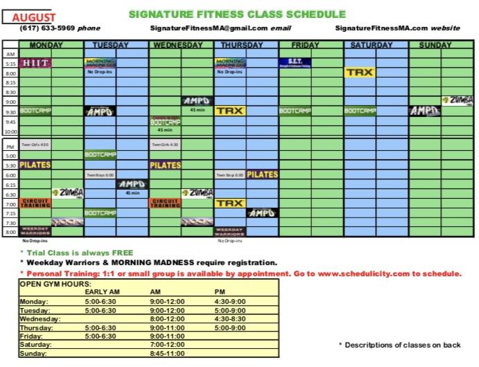 August 2017 Schedule