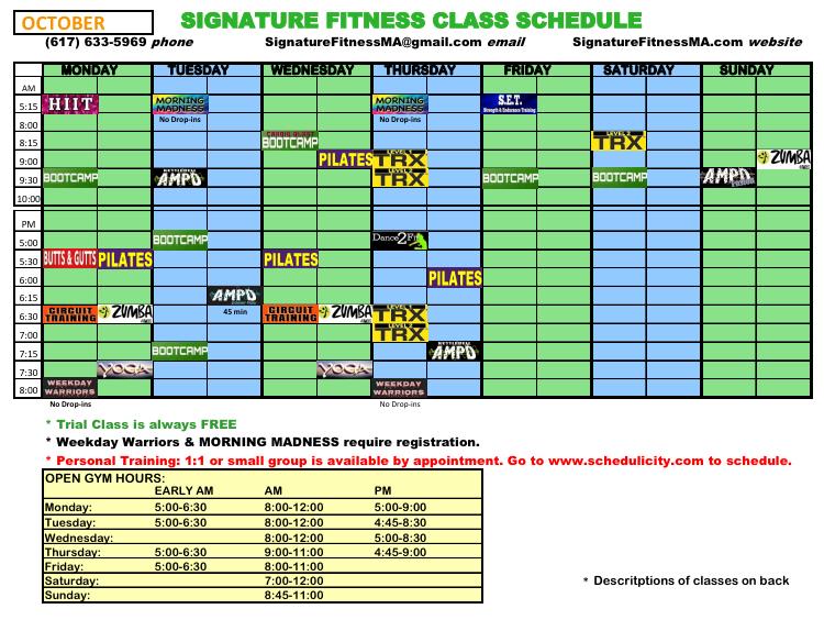 schedule Oct 2017